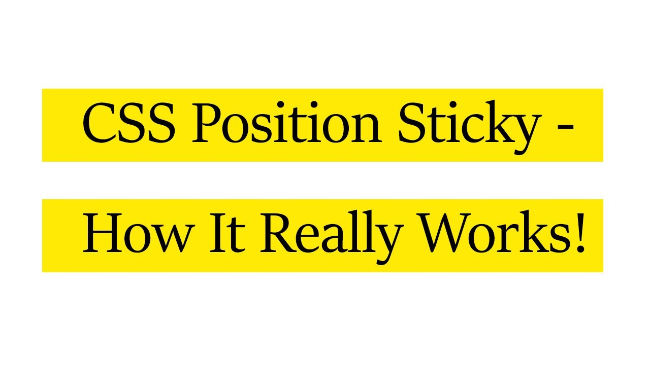 How to fix – css position sticky is not working issue   solution ...