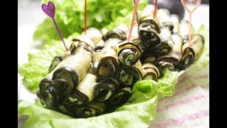 Рулетики из баклажанов с творожным сыром и зеленью
