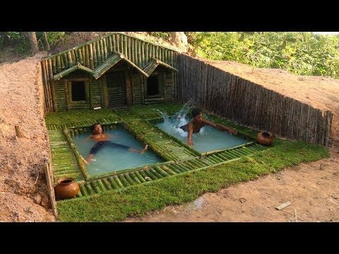 Add Two Swimming Pool in front of House Under The Wood roots