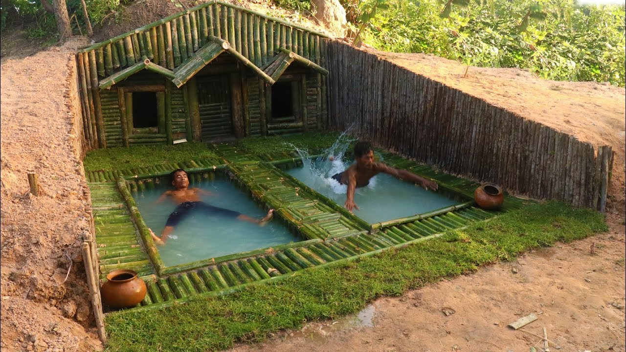 Add two swimming pool in front of house under the wood for Pool designs under 30000