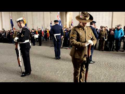Anzac Day 2017 - Menin Gate Ypres - Catafalque Party (Day ceremony). LAST POST
