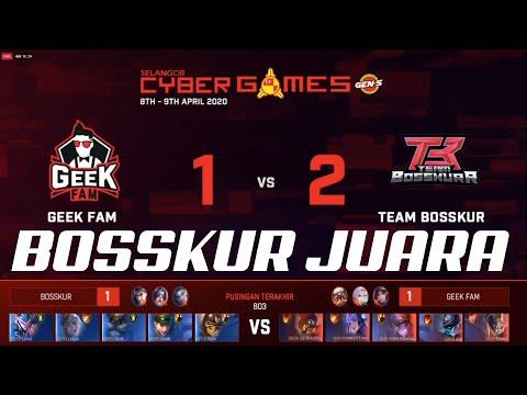 FINAL!! TEAM BOSSKUR VS GEEK FAM   BOSSKUR JUARA  SELANGOR CYBER GAMES   MOBILE LEGENDS