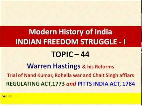 Topic - 44 | British rule in India | Warren Hastings | Regulating Act 1773 | Pitts India Act 1784