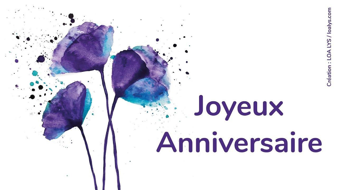 Joyeux anniversaire - Carte virtuelle - Fleurs - Aquarelle