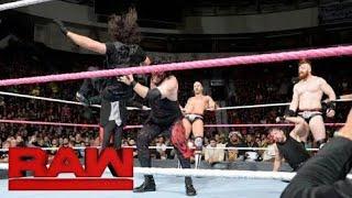 Kane attacks Shield and Aj styles WWE RAW 23/10/17 - WWE RAW 23-10-17