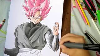 How to Draw Goku Black SSJ Rose - Como desenhar Goku Black SSJ Rosa (Painting/Pintura) Part. 2
