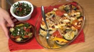 Запеченный цукини с халлуми сыром и острой заправкой с чили перцем и мятой