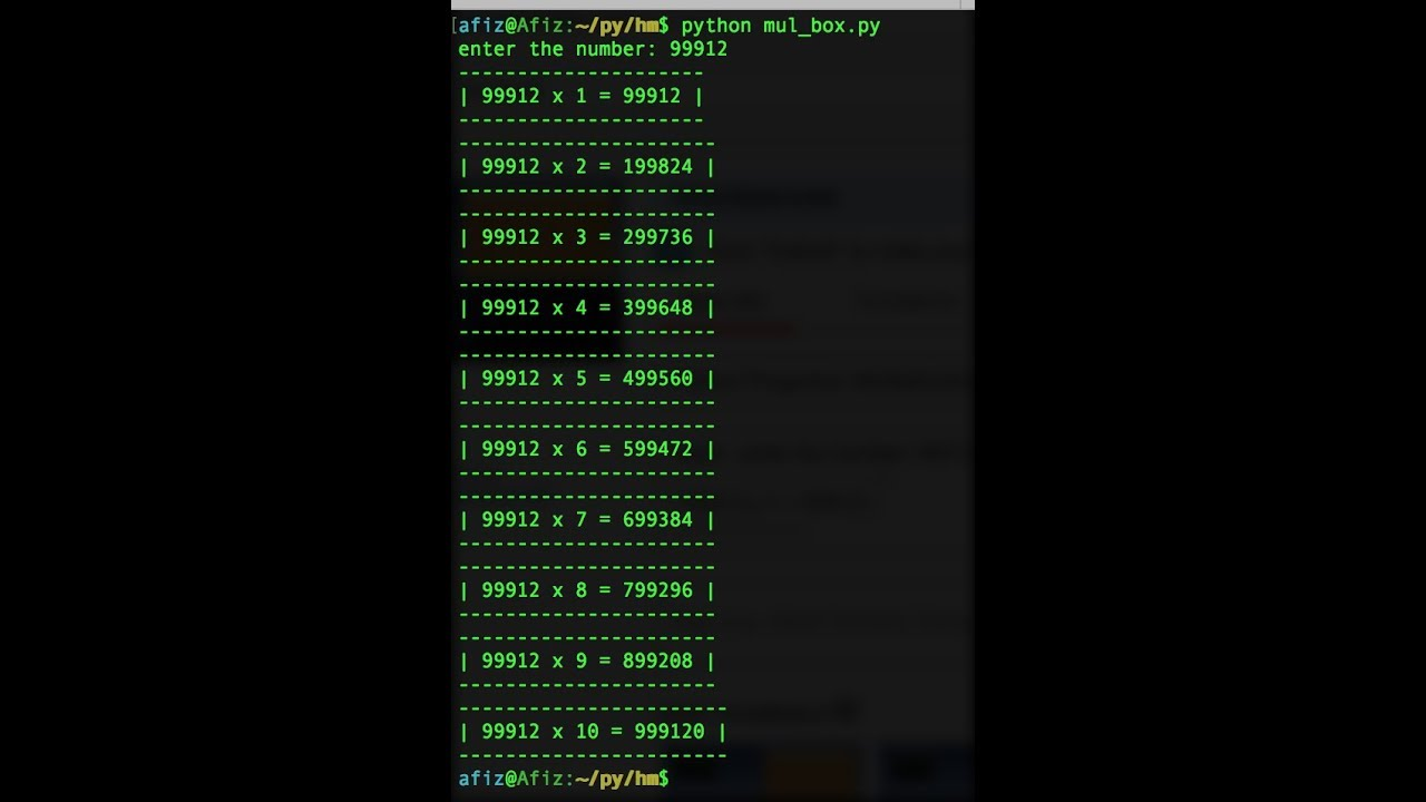 Python programs multiplication table with box around youtube python programs multiplication table with box around gamestrikefo Images