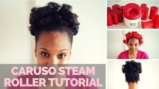 How to Use Caruso Steam Rollers on Natural Hair: (4B NATURAL HAIR UPDO TUTORIAL)