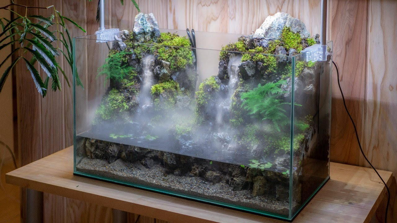 Making an Aqua Terrarium with 2 flowing Waterfalls