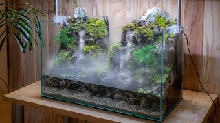 Making an Aquaterrarium with two flowing waterfalls【滝の飛沫を再現したい】
