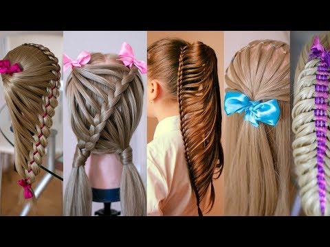 Топ 5 Оригинальных причёсок из кос для выпускного из детского сада  Детские причёски  Hair tutotial