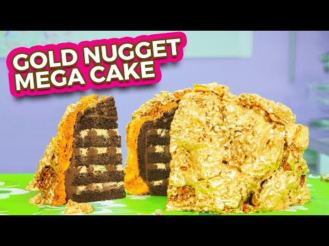 GIANT GOLD MEGA CAKE! | St Patrick's Day Golden Nugget Dessert | How To Cake It