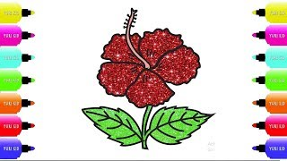 Hibiscus Flower Coloring Pages - Step by Step Drawing With Marker Pen