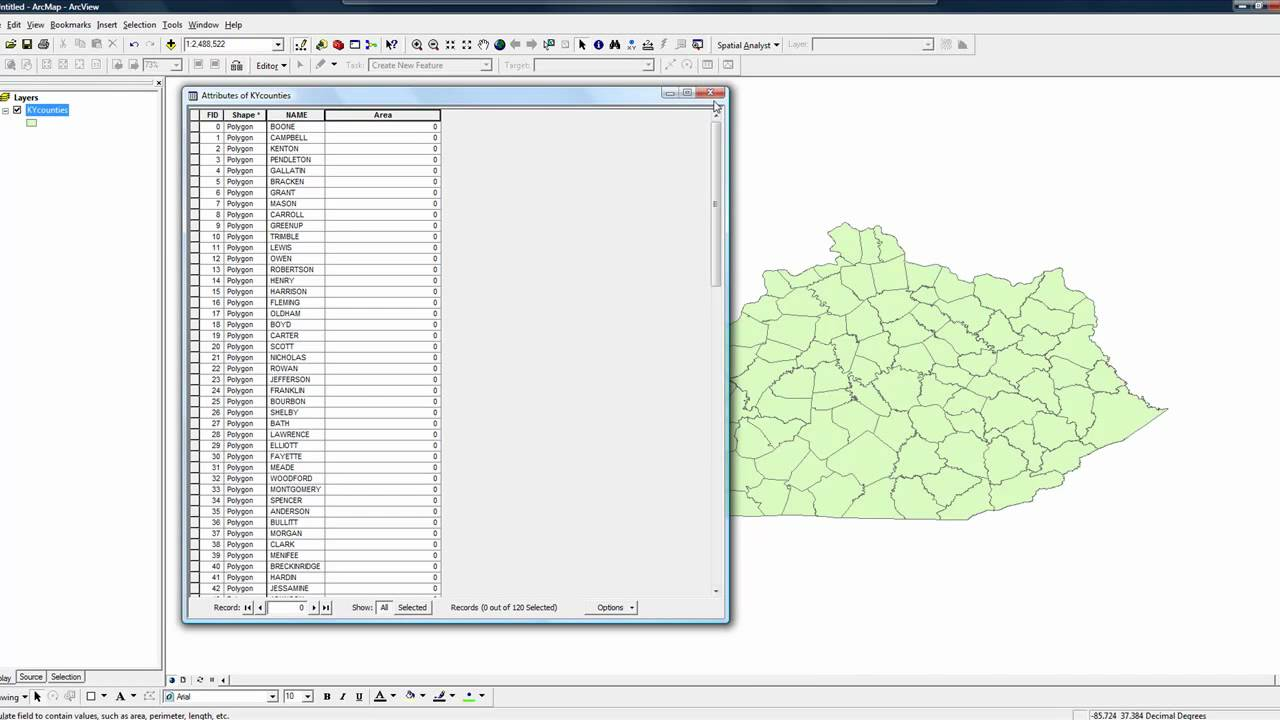 how to find area in arcmaps