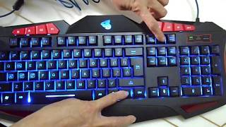 midi Cool Blue LED Illuminated Backlit USB Multimedia Gaming Keyboard (3 Colors)