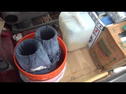 Redneck Filtering Of Used Cooking Oil With Blue Jeans thumbnail