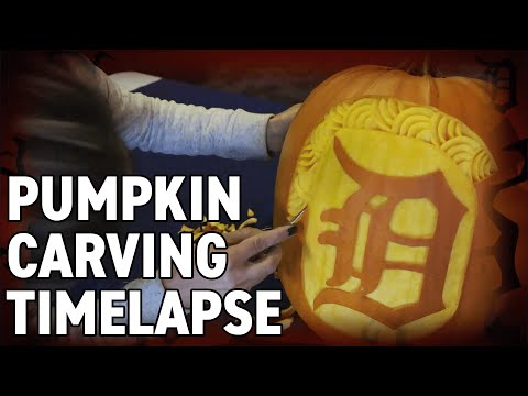 Pumpkin Carving Time-lapse Of The Detroit Tigers Famous Olde English D Logo!