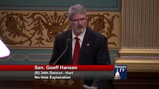 Sen. Hansen gives his no-vote explanation for HB 5384