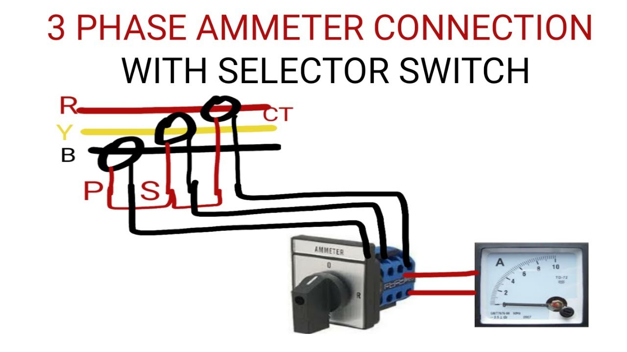 3 PHASE AMMETER CONNECTION WITH SELECTOR SWITCH - YouTubeYouTube