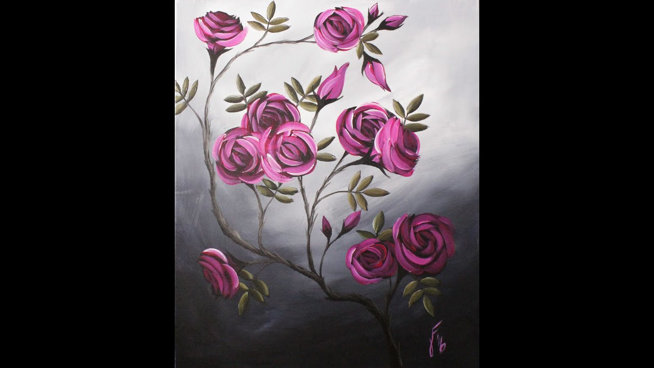 coming up roses step by step acrylic painting on canvas