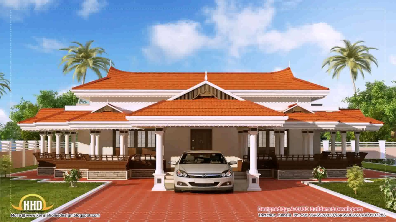 Kerala style single storey house photos youtube for Single storey nalukettu house plans