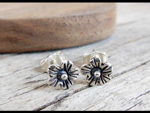 Sterling Silver Flower Stud Earrings by West Wind Creations