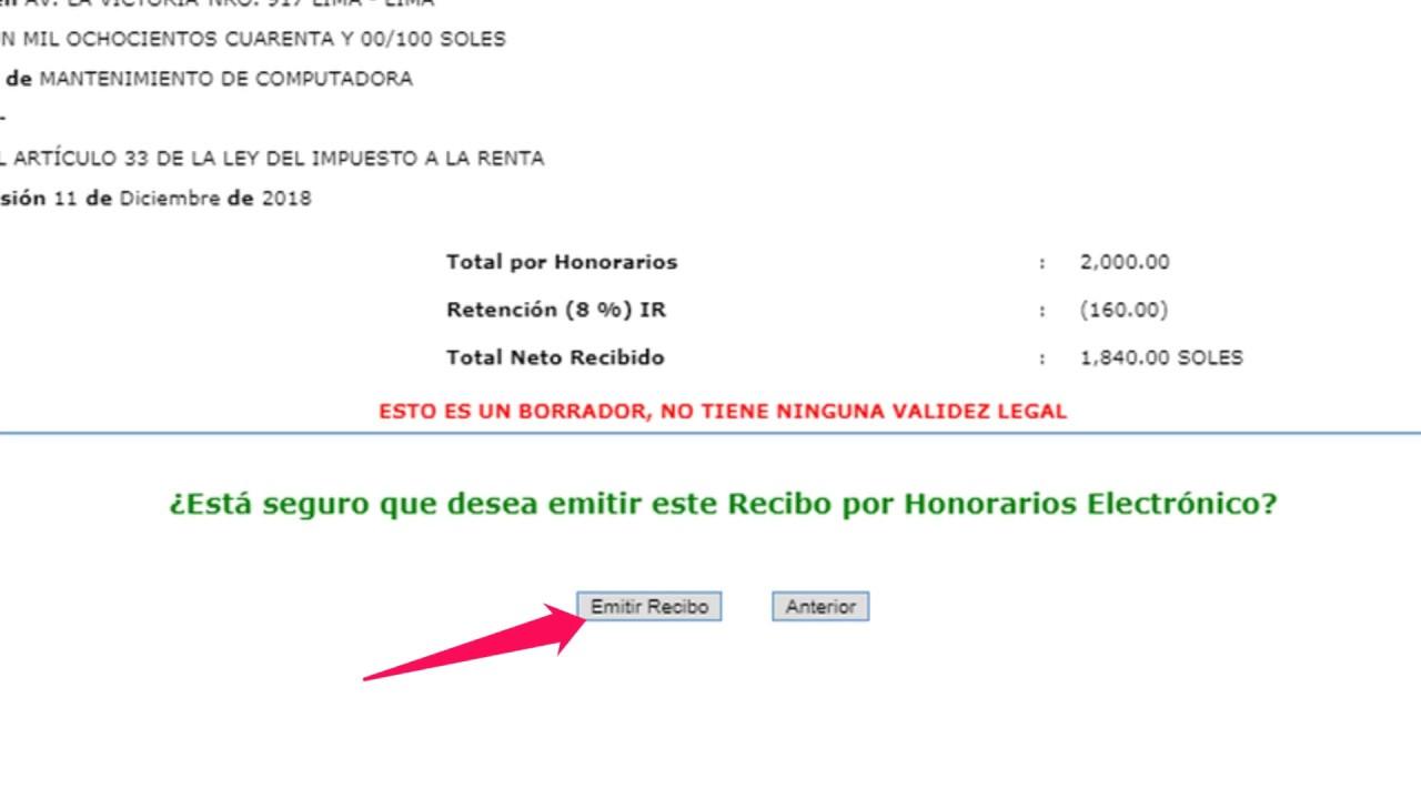 Sunat Cómo Emitir Recibo Por Honorarios En El Perú 2019