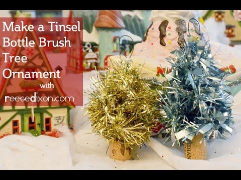 Diy christmas ornament tinsel bottle brush tree youtube
