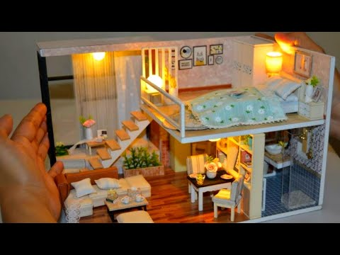 DIY MINIATURE Two-Storey MANSION HOUSE dollhouse