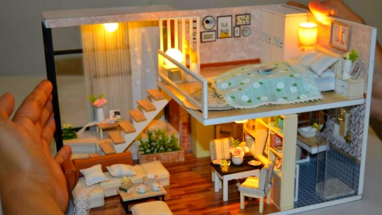 DIY MINIATURE Two-Storey MANSION HOUSE dollhouse on