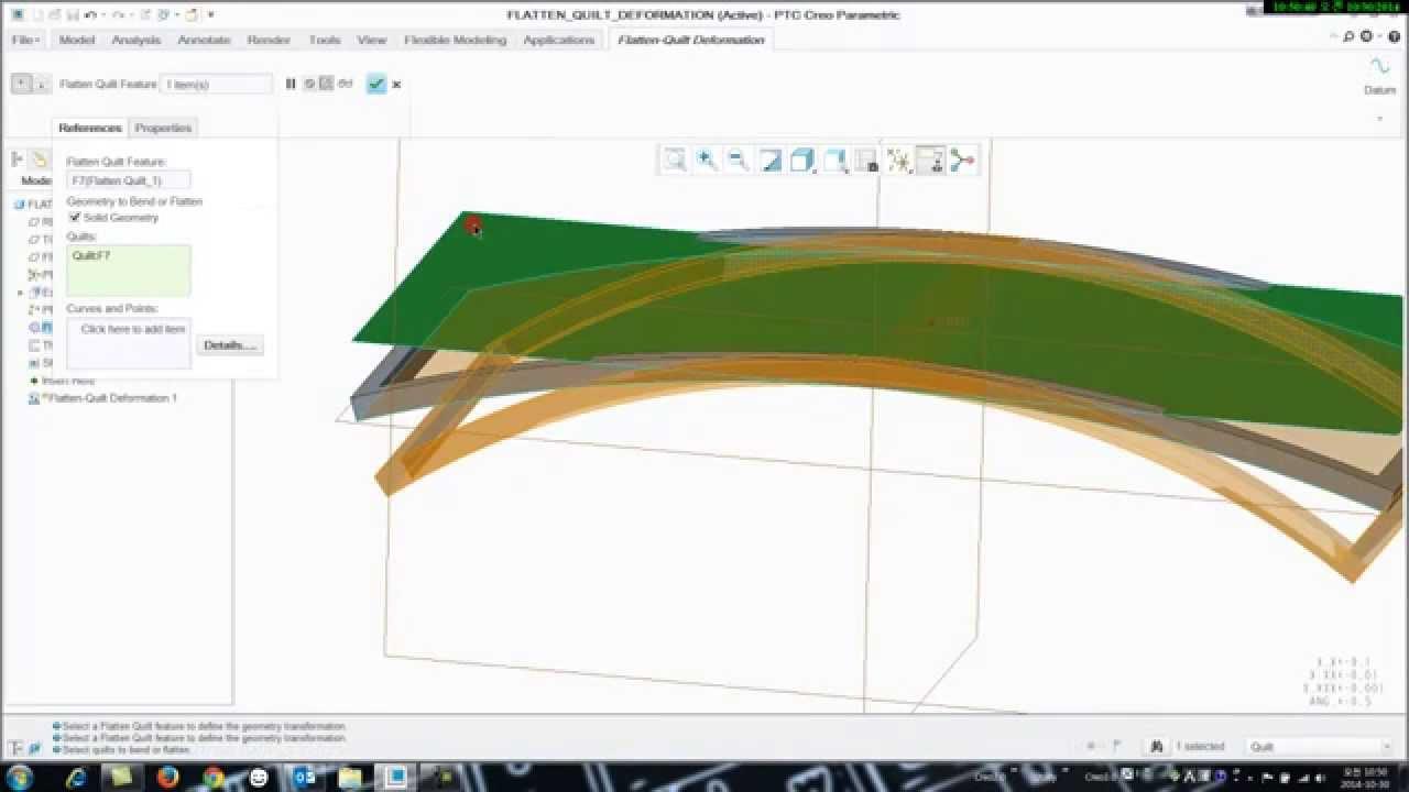 Creo3 0 Flatten Quilt Deformation Youtube