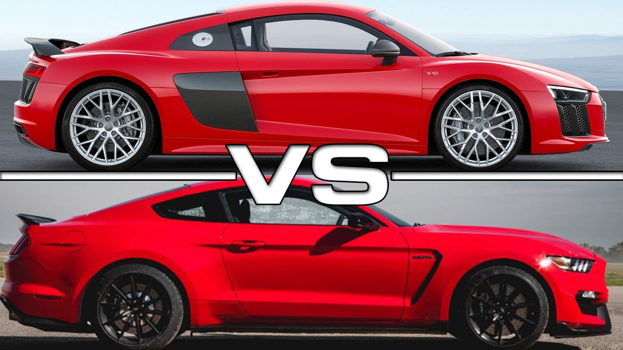 audi r8 v10 plus vs ford mustang shelby gt350r youtube. Black Bedroom Furniture Sets. Home Design Ideas