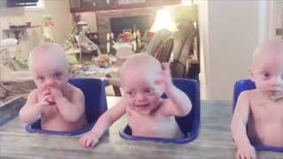 Cute Multiplied by Three, Trouble ...Three too 😛 😜 😝 Funny Triplets Babies 👉🏽 Funny Baby Video🧸