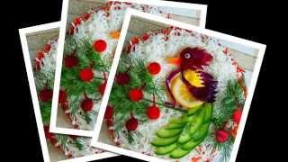 Украшение салатов огурцами