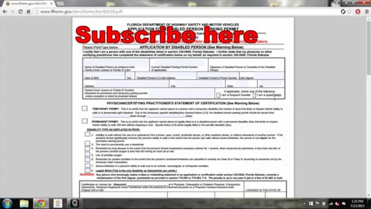 How to Apply for a Disabled Placard in Florida - YouTube
