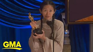 Chloé Zhao accepts Best Director Academy Award for 'Nomadland' | GMA