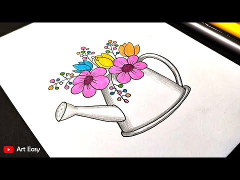 Flower pot drawing and coloring    Very easy