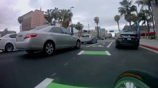 Testing out the new protected bike lanes in Downtown Long Beach