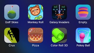 Golf Skies,Monkey Roll,Galaxy Invaders,Empty,Crux,Pizza,Color Roll 3D,Pokey Ball