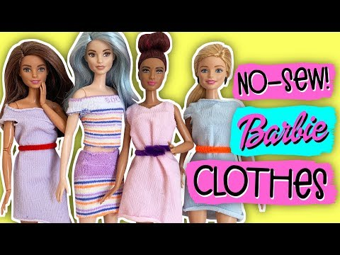 How to make clothes for your Barbie doll with socks. Dress, Skirt, T-shirt... No Sew!