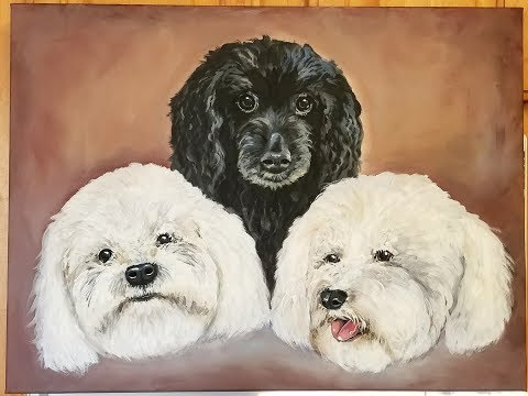 DA40 Acrylic Painting 3 Dogs using DecoArt Acrylics with Sandra Lett 031618