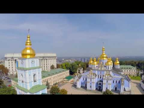 Kiev, Ukraine from above - Kyiv city air drone video Touch Ukraine