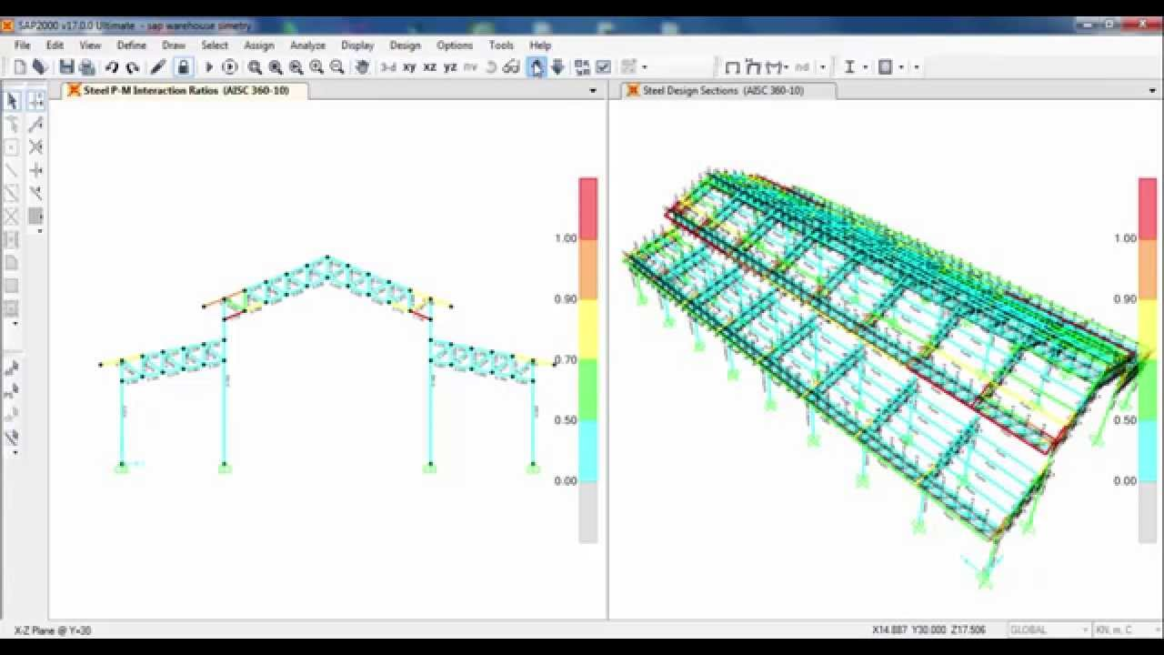 SAP2000 Design Of Steel Truss Factory Structure 02/02   YouTube