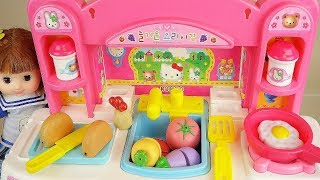 Baby doll and hello kitty kitchen food cooking play baby Doli house