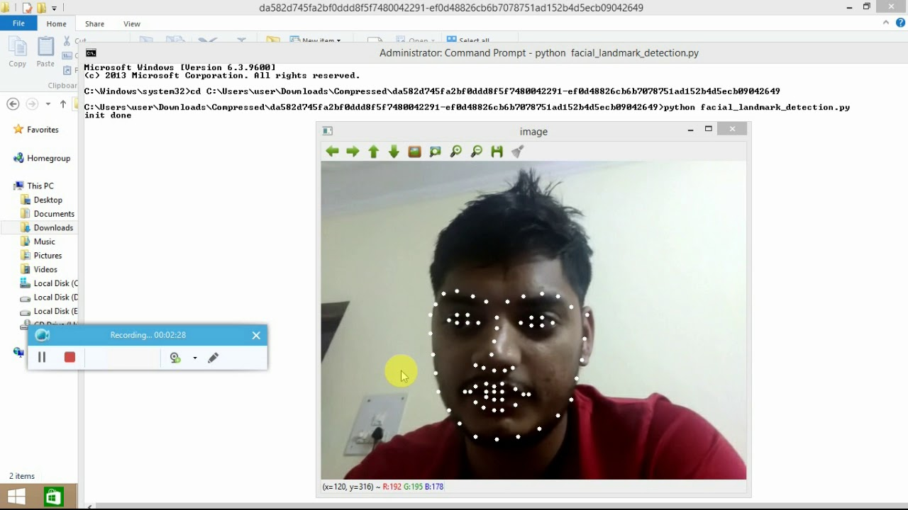 facial landmark detection(eyes nose etc) using opencv dlib python for  advance facial recognition
