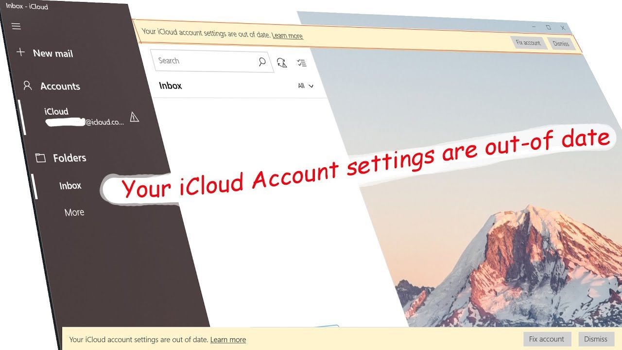 Fix iCloud account settings are out-of-date on Windows 10