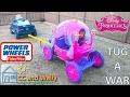 Tug a War Disney Princess Carriage vs Power Wheels F150 Head 2 Head Cinderella Elsa CC and Wally