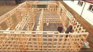 Невероятно быстрый способ строительства деревянного дома - Готовый бревенчатый дом за 1 день