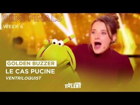 GOLDEN BUZZER ! 21-Year-Old Capucine Singing Ventriloquist Gets Golden Buzzer !